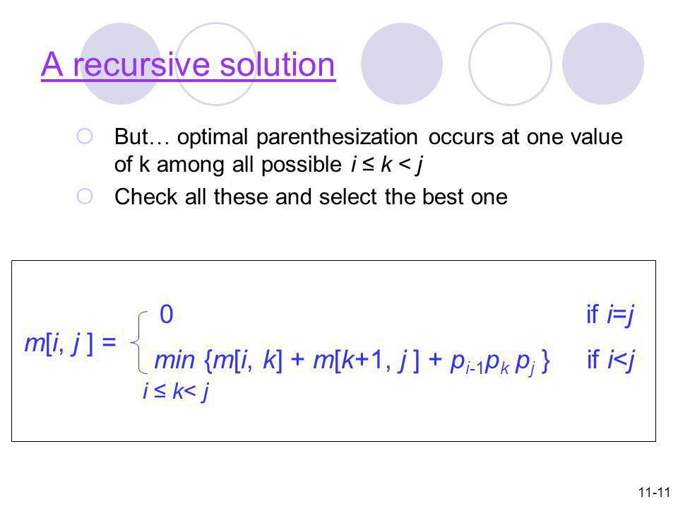 11-11 A recursive solution But … optimal parenthesization occurs at one value of k among all possible i k < j Check all these and select the best one