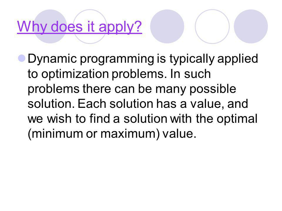 Why does it apply? Dynamic programming is typically applied to optimization problems. In such problems there can be many possible solution. Each solut