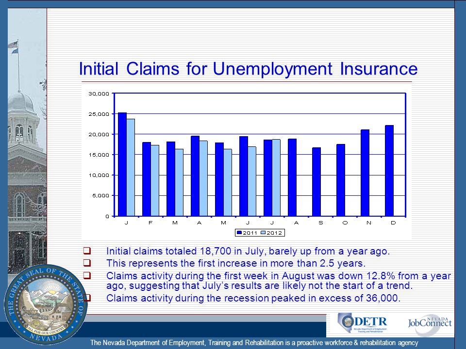 The Nevada Department of Employment, Training and Rehabilitation is a proactive workforce & rehabilitation agency Initial Claims for Unemployment Insurance Initial claims totaled 18,700 in July, barely up from a year ago.