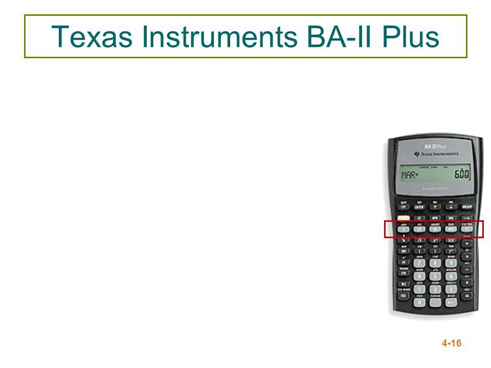4-16 Texas Instruments BA-II Plus