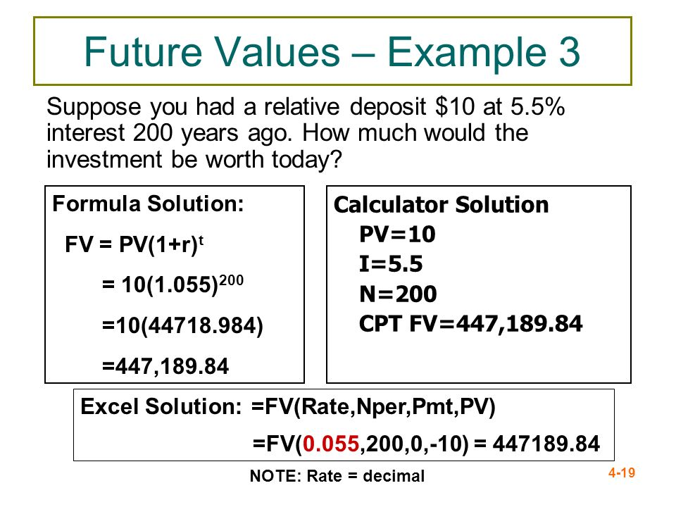 4-19 Future Values – Example 3 Suppose you had a relative deposit $10 at 5.5% interest 200 years ago. How much would the investment be worth today? Fo