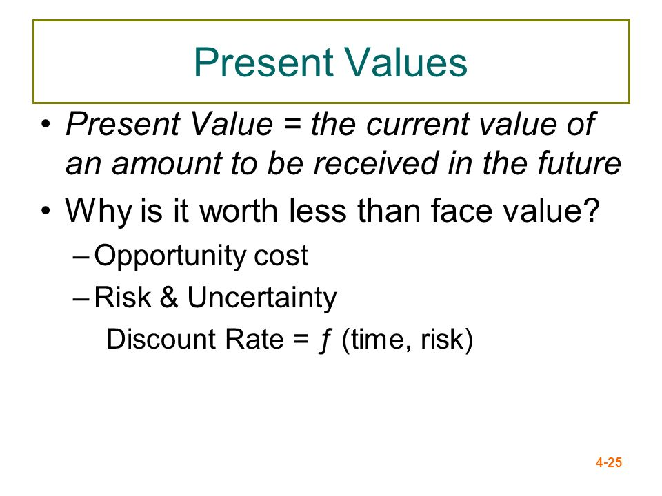 4-25 Present Values Present Value = the current value of an amount to be received in the future Why is it worth less than face value? –Opportunity cos
