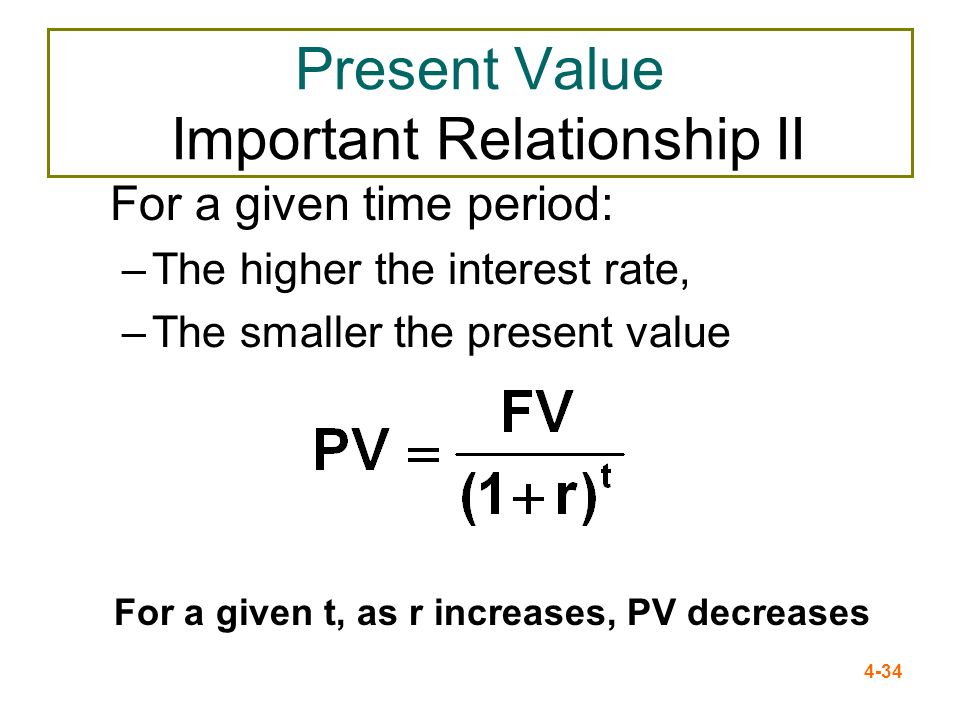 4-34 Present Value Important Relationship II For a given time period: –The higher the interest rate, –The smaller the present value For a given t, as