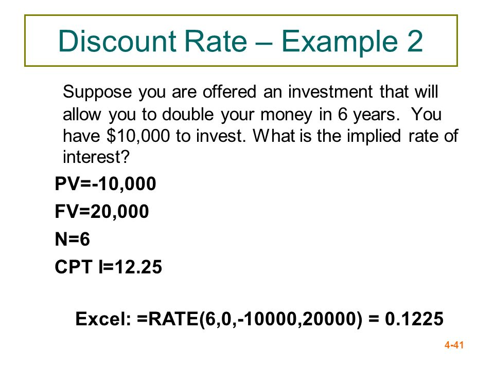 4-41 Discount Rate – Example 2 Suppose you are offered an investment that will allow you to double your money in 6 years. You have $10,000 to invest.