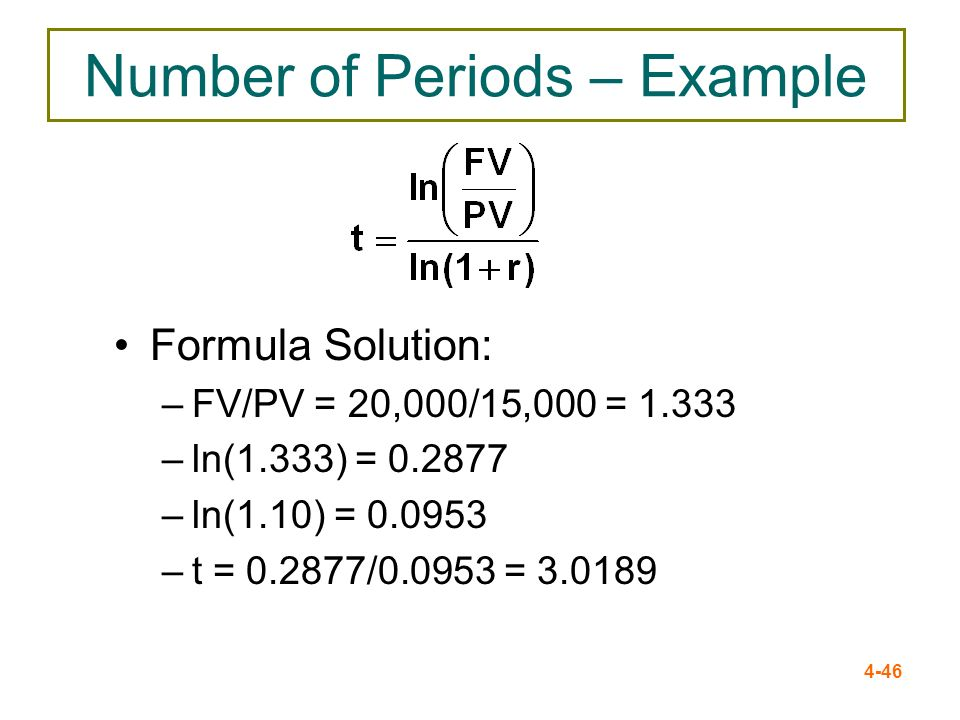 4-46 Number of Periods – Example Formula Solution: –FV/PV = 20,000/15,000 = 1.333 –ln(1.333) = 0.2877 –ln(1.10) = 0.0953 –t = 0.2877/0.0953 = 3.0189