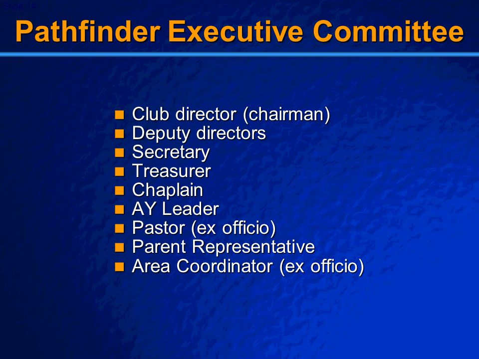 © 2003 By Default! A Free sample background from www.powerpointbackgrounds.com Slide 14 Pathfinder Executive Committee Club director (chairman) Club d