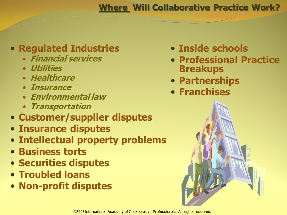 Where Will Collaborative Practice Work.
