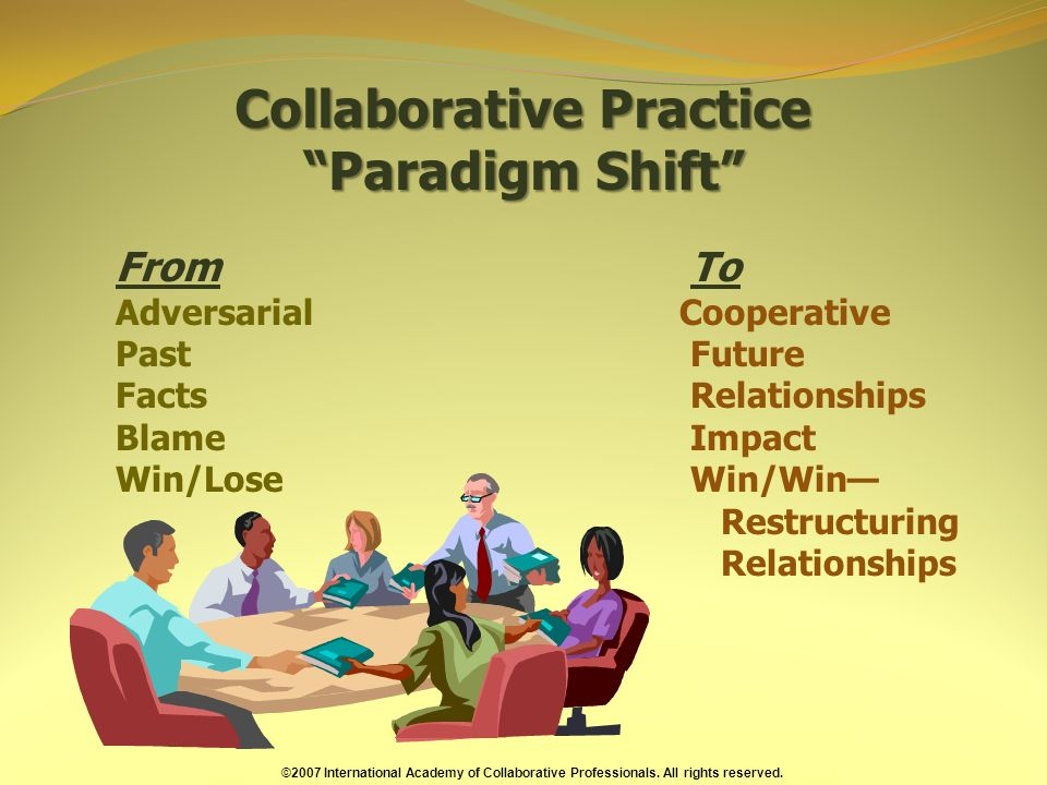 Collaborative Practice Paradigm Shift From To Adversarial Cooperative Past Future Facts Relationships Blame Impact Win/Lose Win/Win Restructuring Relationships ©2007 International Academy of Collaborative Professionals.