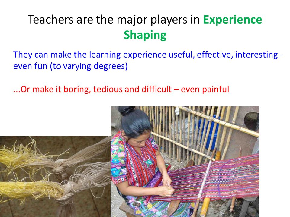 Teachers are the major players in Experience Shaping They can make the learning experience useful, effective, interesting - even fun (to varying degre