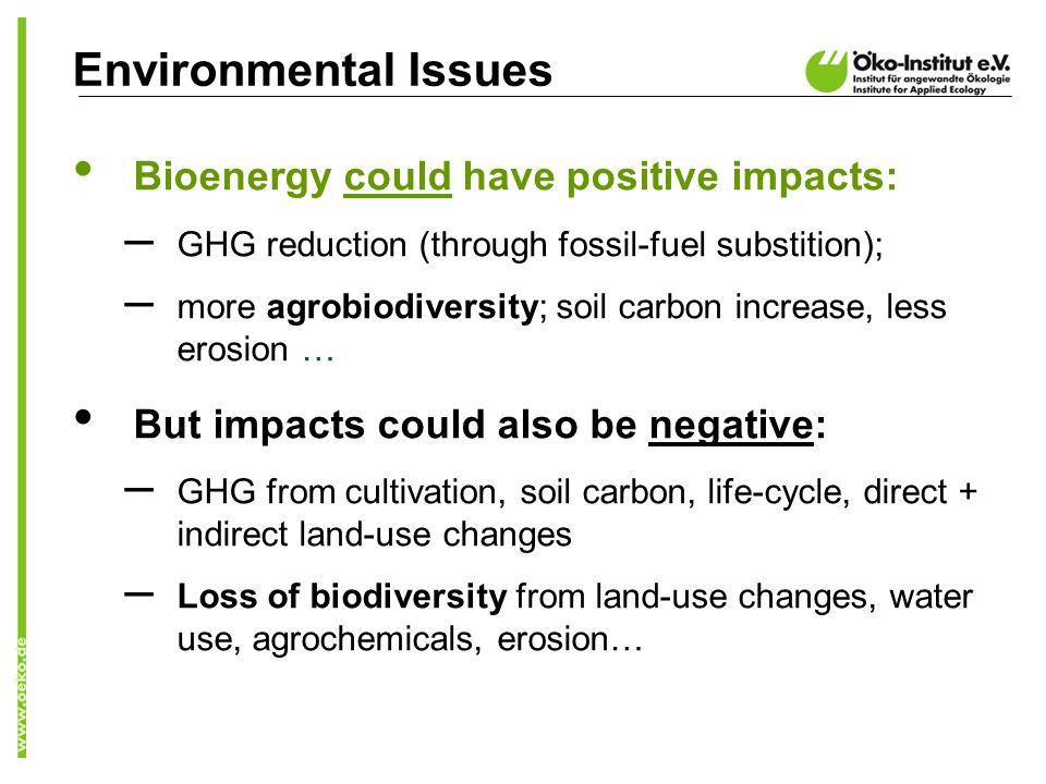 Bioenergy could have positive impacts: – GHG reduction (through fossil-fuel substition); – more agrobiodiversity; soil carbon increase, less erosion … But impacts could also be negative: – GHG from cultivation, soil carbon, life-cycle, direct + indirect land-use changes – Loss of biodiversity from land-use changes, water use, agrochemicals, erosion… Environmental Issues