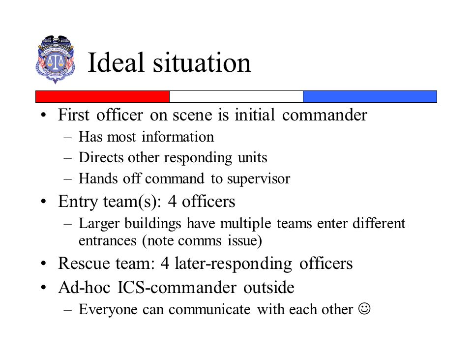 Ideal situation First officer on scene is initial commander –Has most information –Directs other responding units –Hands off command to supervisor Ent