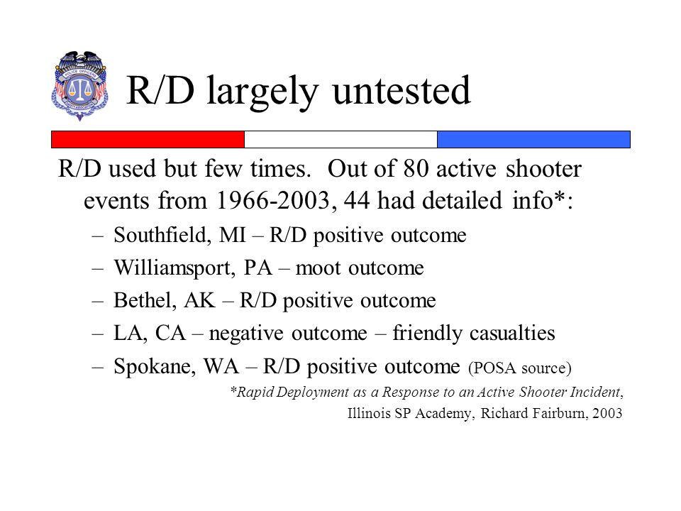 R/D largely untested R/D used but few times. Out of 80 active shooter events from 1966-2003, 44 had detailed info*: –Southfield, MI – R/D positive out