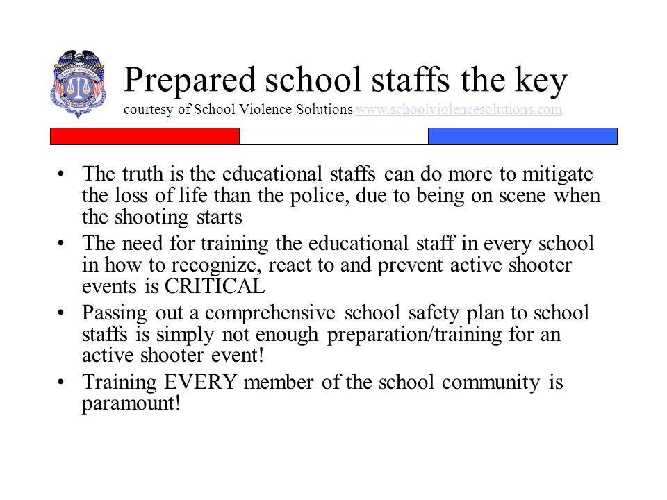 Prepared school staffs the key courtesy of School Violence Solutions www.schoolviolencesolutions.comwww.schoolviolencesolutions.com The truth is the e