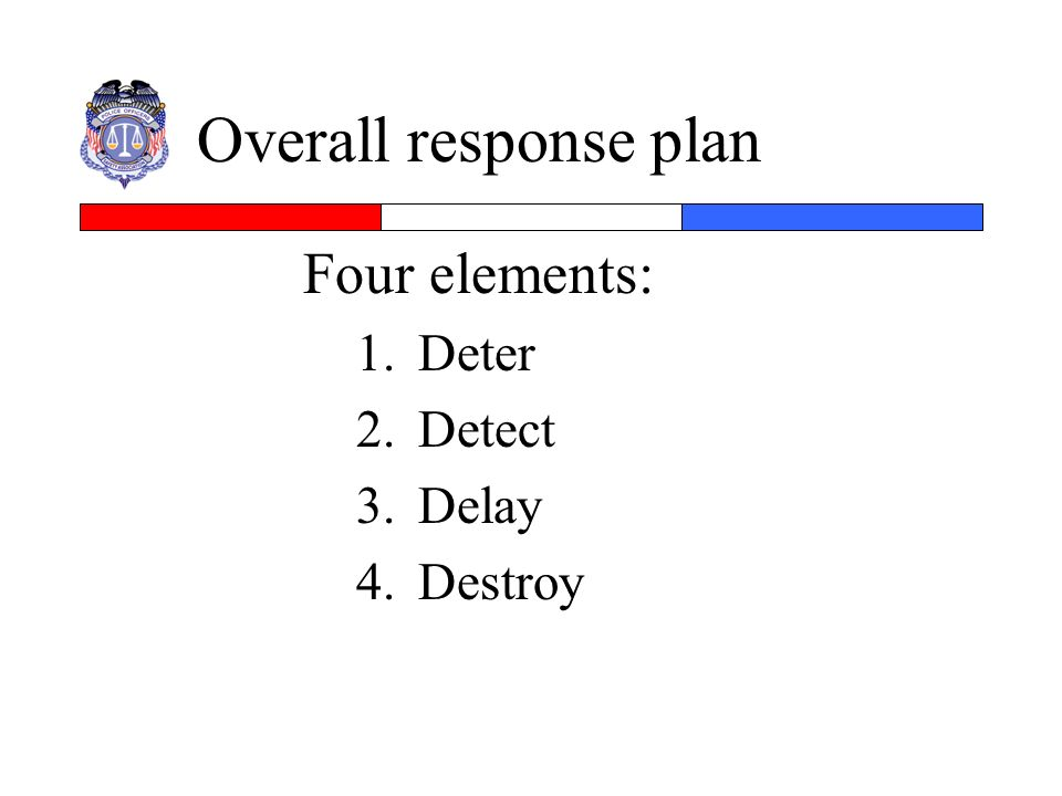Overall response plan Four elements: 1.Deter 2.Detect 3.Delay 4.Destroy