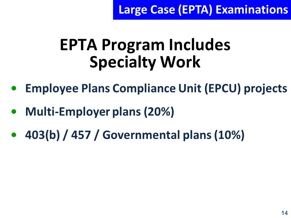 14 EPTA Program Includes Specialty Work Employee Plans Compliance Unit (EPCU) projects Multi-Employer plans (20%) 403(b) / 457 / Governmental plans (1