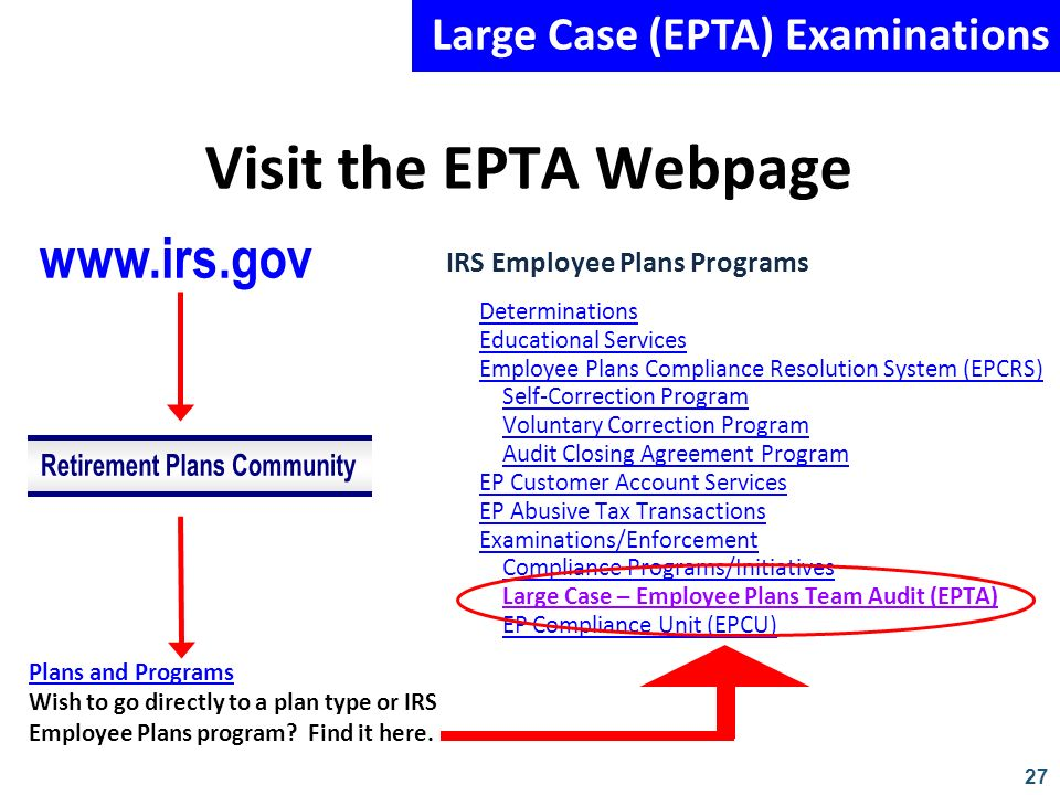 27 Visit the EPTA Webpage IRS Employee Plans Programs Determinations Educational Services Employee Plans Compliance Resolution System (EPCRS) Self-Cor