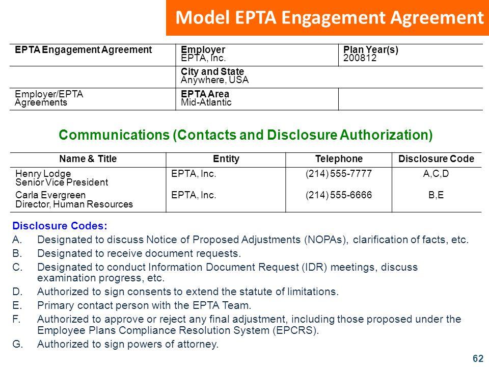 62 Model EPTA Engagement Agreement EPTA Engagement Agreement Employer EPTA, Inc. Plan Year(s) 200812 City and State Anywhere, USA Employer/EPTA Agreem