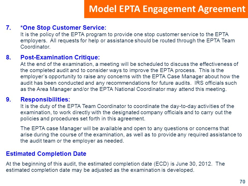 70 Model EPTA Engagement Agreement 7.*One Stop Customer Service: It is the policy of the EPTA program to provide one stop customer service to the EPTA