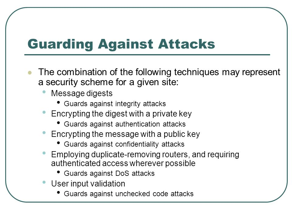 Guarding Against Attacks The combination of the following techniques may represent a security scheme for a given site: Message digests Guards against