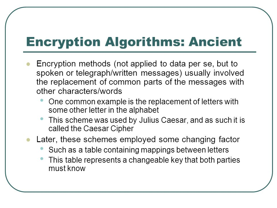 Encryption Algorithms: Ancient Encryption methods (not applied to data per se, but to spoken or telegraph/written messages) usually involved the repla