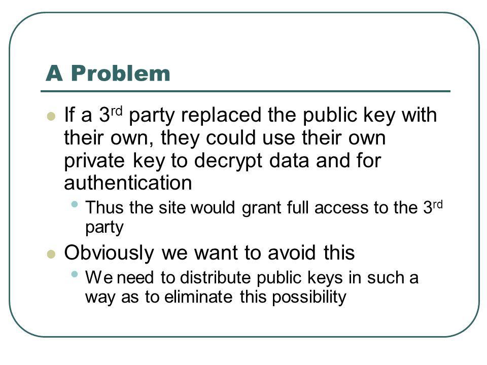 A Problem If a 3 rd party replaced the public key with their own, they could use their own private key to decrypt data and for authentication Thus the