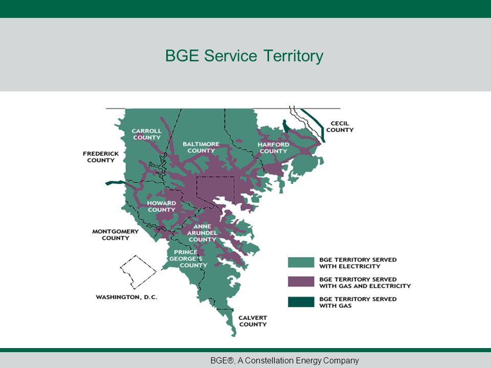 BGE®, A Constellation Energy Company BGE Service Territory