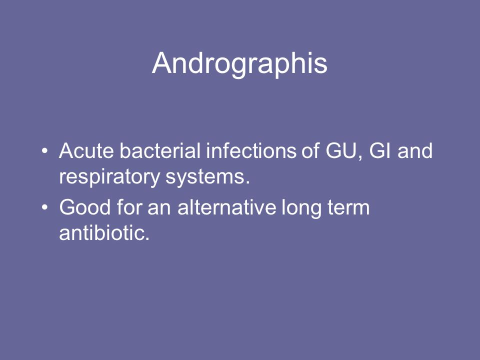 Andrographis Acute bacterial infections of GU, GI and respiratory systems. Good for an alternative long term antibiotic.