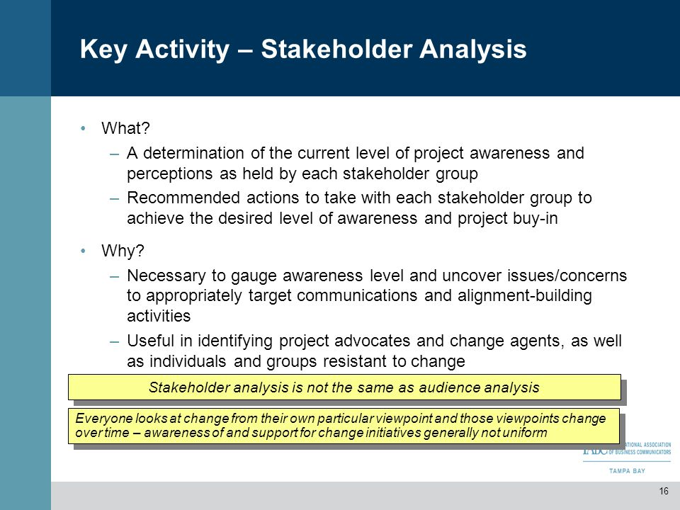 Key Activity – Stakeholder Analysis What? –A determination of the current level of project awareness and perceptions as held by each stakeholder group