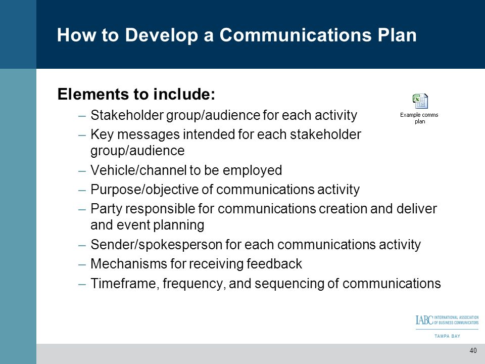 How to Develop a Communications Plan Elements to include: –Stakeholder group/audience for each activity –Key messages intended for each stakeholder gr