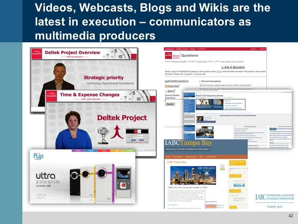 Videos, Webcasts, Blogs and Wikis are the latest in execution – communicators as multimedia producers 42