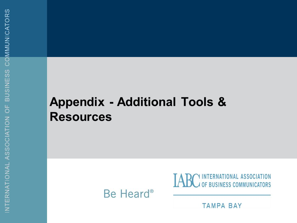 Appendix - Additional Tools & Resources