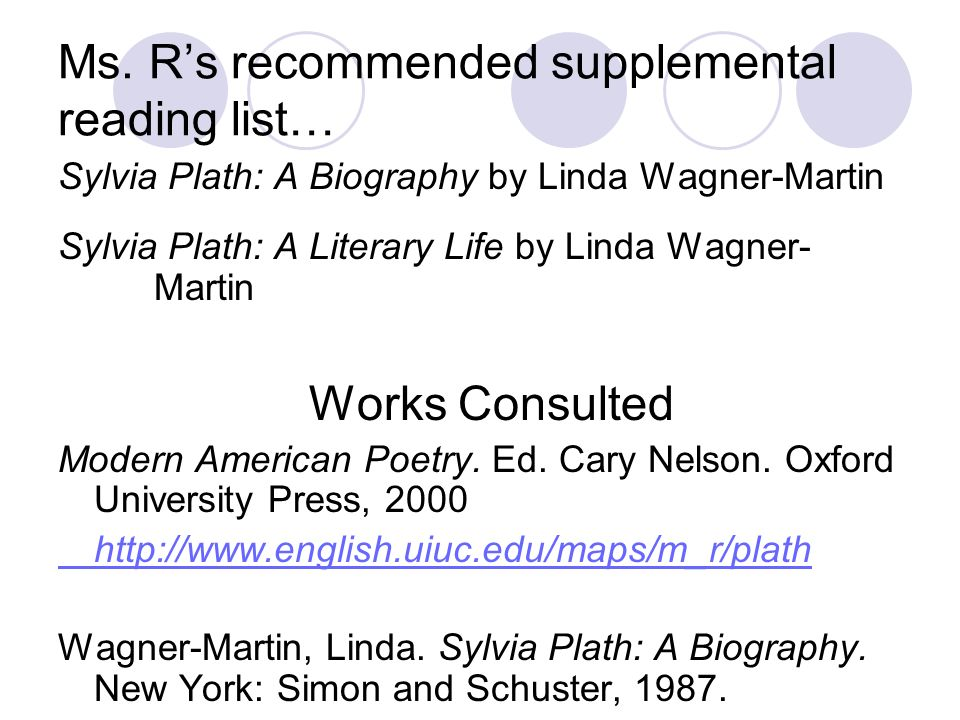 Ms. Rs recommended supplemental reading list… Sylvia Plath: A Biography by Linda Wagner-Martin Sylvia Plath: A Literary Life by Linda Wagner- Martin W