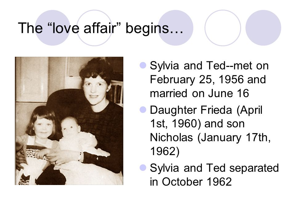 The love affair begins… Sylvia and Ted--met on February 25, 1956 and married on June 16 Daughter Frieda (April 1st, 1960) and son Nicholas (January 17