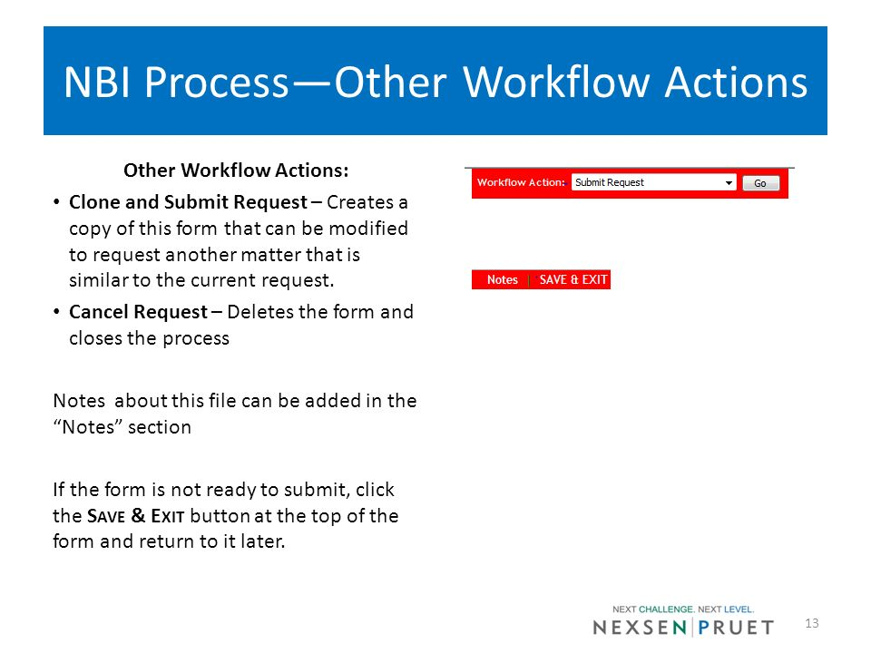 NBI ProcessOther Workflow Actions Other Workflow Actions: Clone and Submit Request – Creates a copy of this form that can be modified to request anoth
