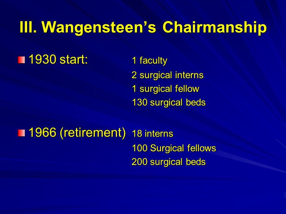 III. Wangensteens Chairmanship 1930 start: 1 faculty 2 surgical interns 2 surgical interns 1 surgical fellow 130 surgical beds 1966 (retirement) 18 in