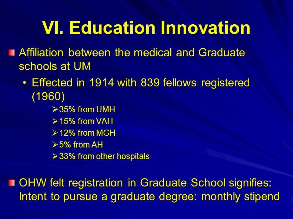 VI. Education Innovation Affiliation between the medical and Graduate schools at UM Effected in 1914 with 839 fellows registered (1960)Effected in 191