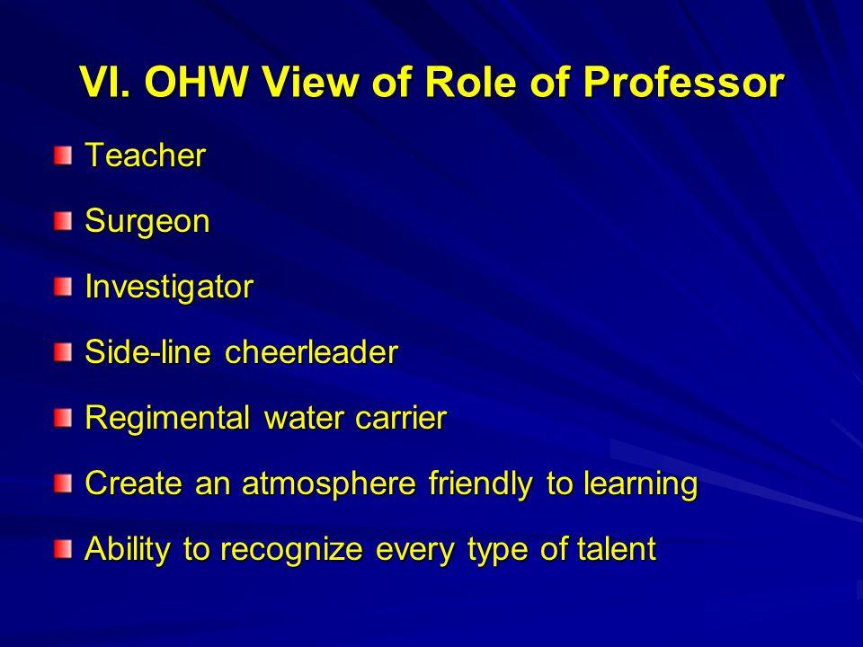 VI. OHW View of Role of Professor TeacherSurgeonInvestigator Side-line cheerleader Regimental water carrier Create an atmosphere friendly to learning