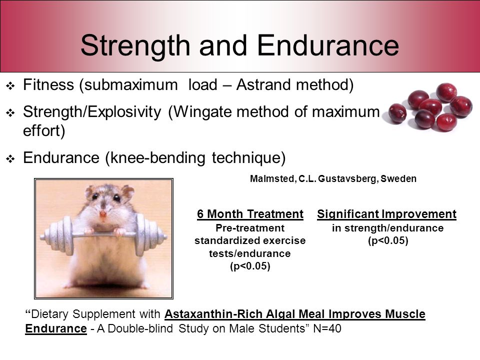 Strength and Endurance Fitness (submaximum load – Astrand method) Strength/Explosivity (Wingate method of maximum effort) Endurance (knee-bending tech