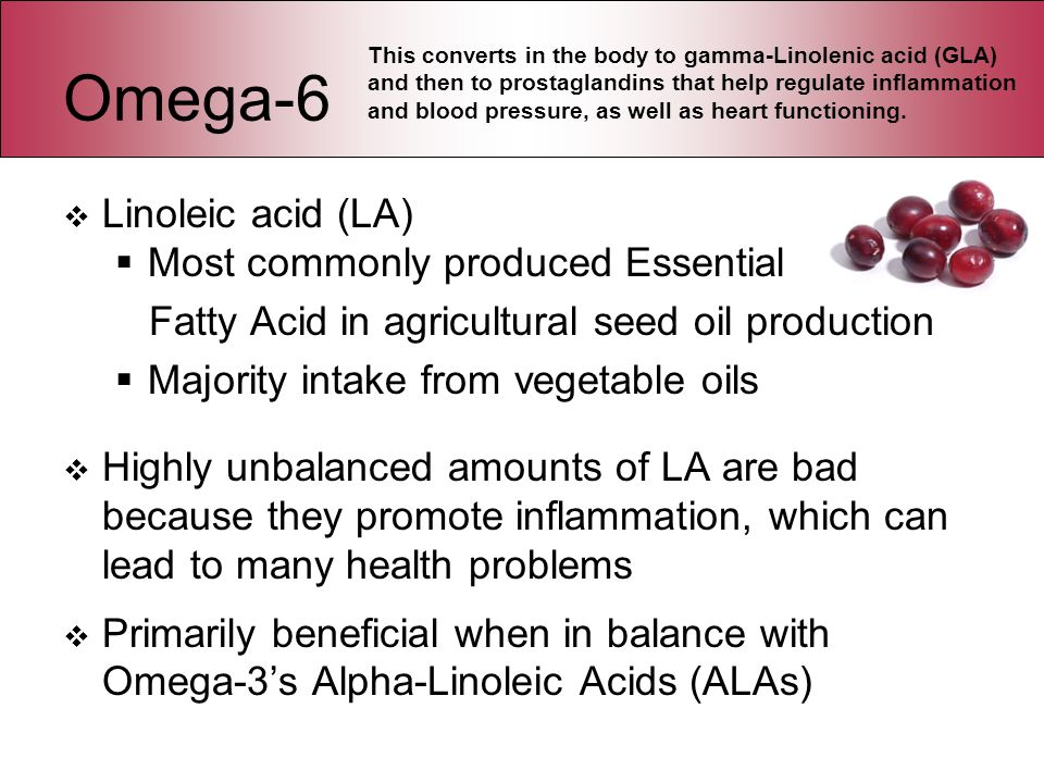 Omega-6 Linoleic acid (LA) Most commonly produced Essential Fatty Acid in agricultural seed oil production Majority intake from vegetable oils Highly