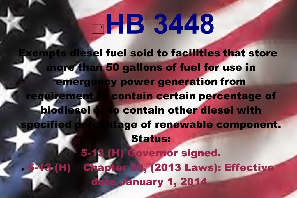 HB 3448 Exempts diesel fuel sold to facilities that store more than 50 gallons of fuel for use in emergency power generation from requirement to contain certain percentage of biodiesel or to contain other diesel with specified percentage of renewable component.