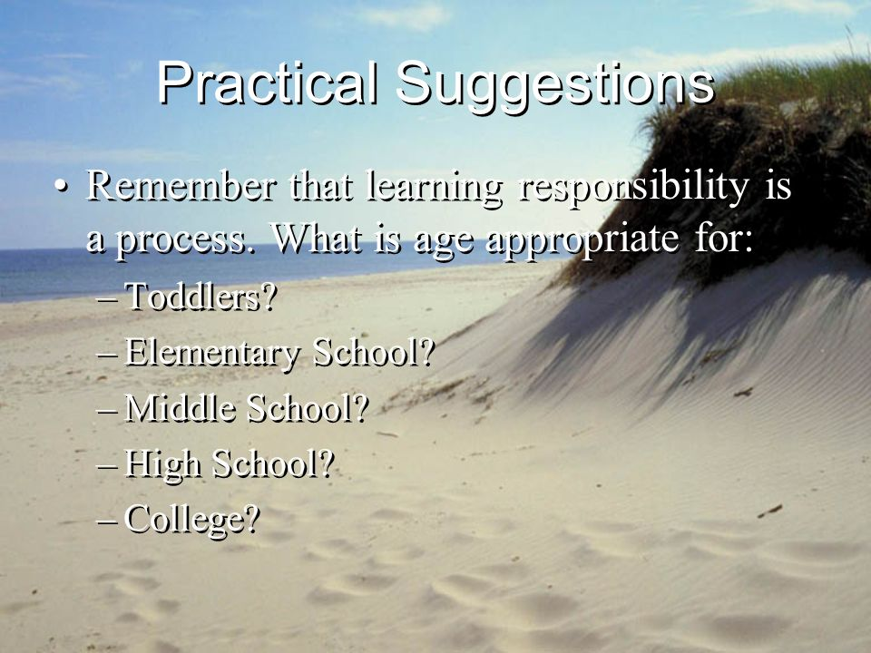 Practical Suggestions Remember that learning responsibility is a process.