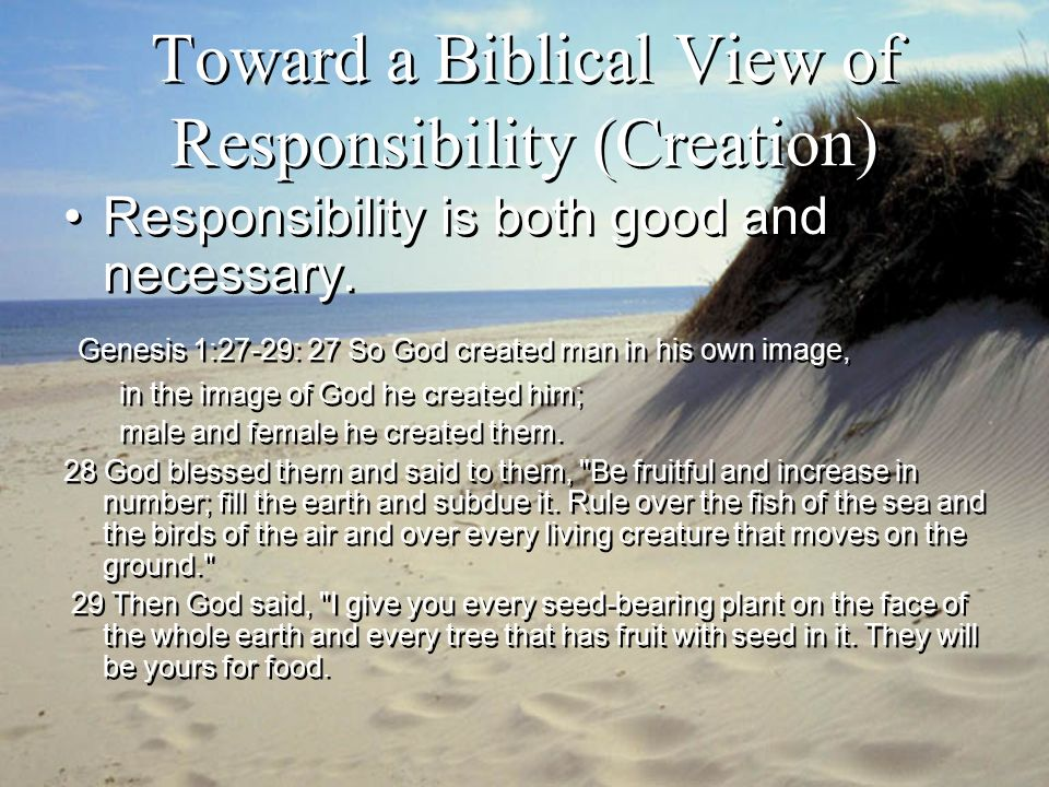 Toward a Biblical View of Responsibility (Creation) Genesis 2:15 The LORD God took the man and put him in the Garden of Eden to work it and take care of it.