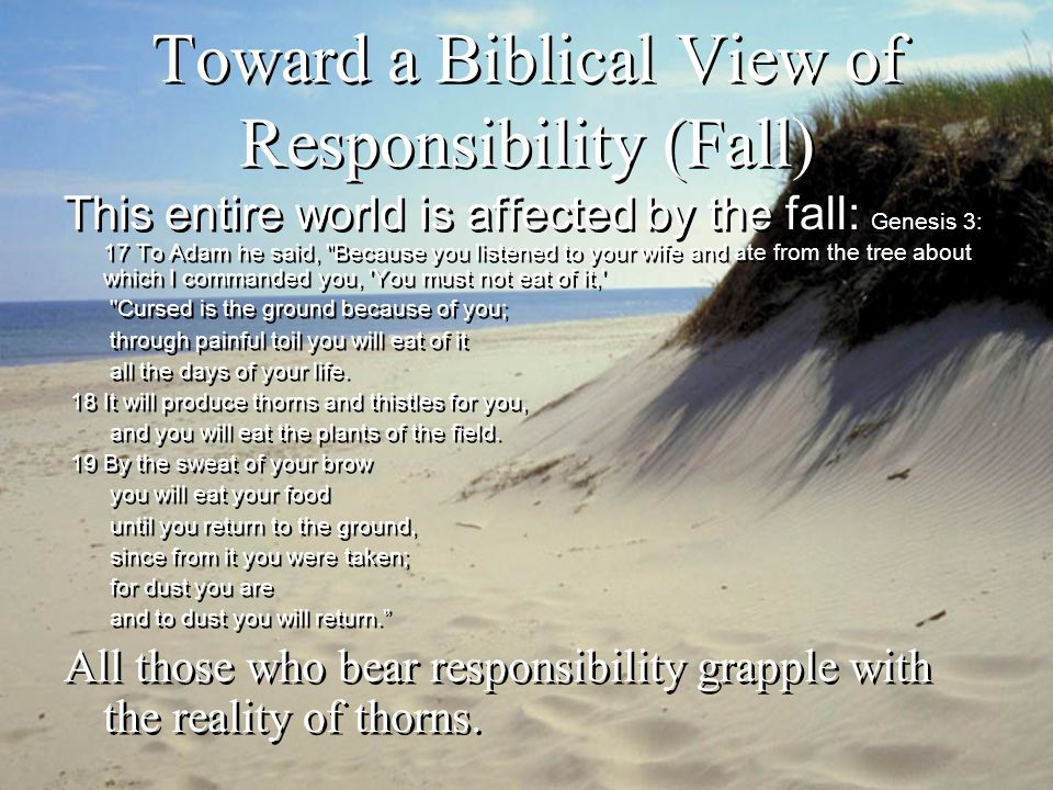 Toward a Biblical View of Responsibility (Fall) Implications of the brokenness of the world: –No aspect of bearing responsibility is immune to the presence of thorns –Thus, although responsibility is a God- appointed (necessary) and beautiful thing (good), the bearing of responsibility is twisted by the fall.