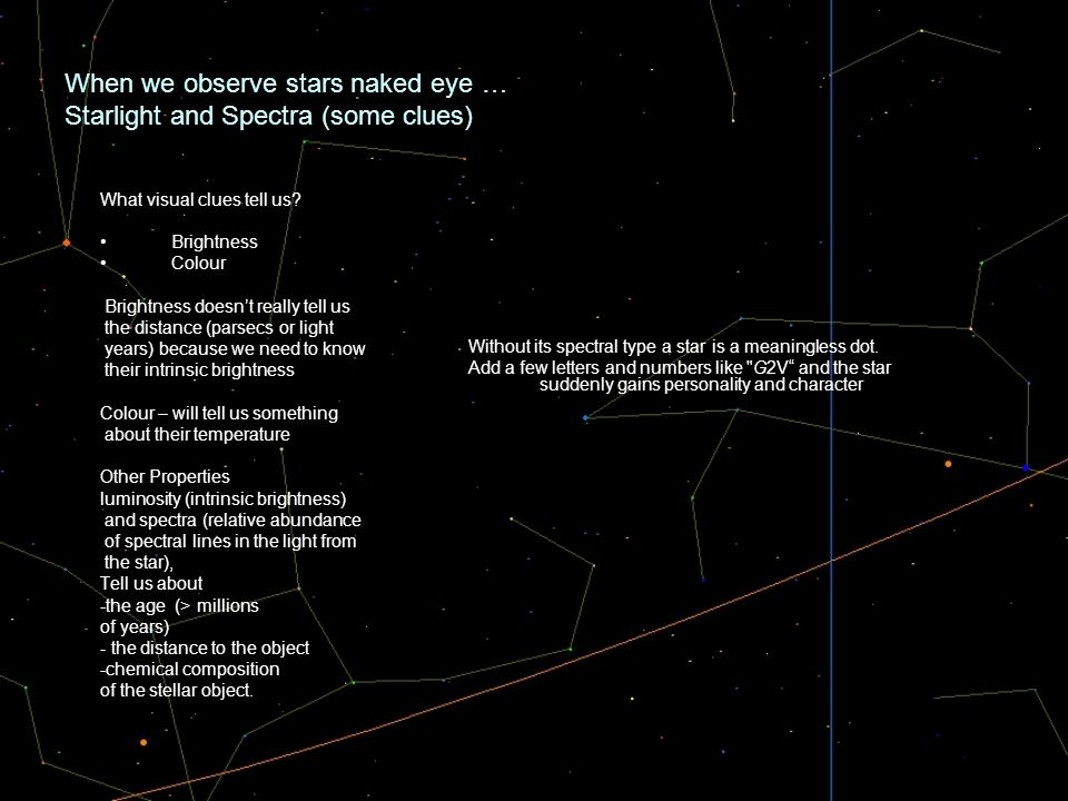When we observe stars naked eye … Starlight and Spectra (some clues) What visual clues tell us? Brightness Colour Brightness doesnt really tell us the