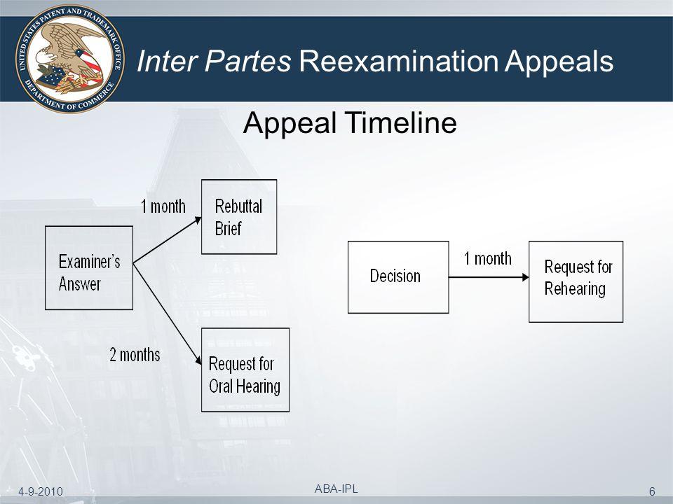 4-9-2010 ABA-IPL 6 Inter Partes Reexamination Appeals Appeal Timeline
