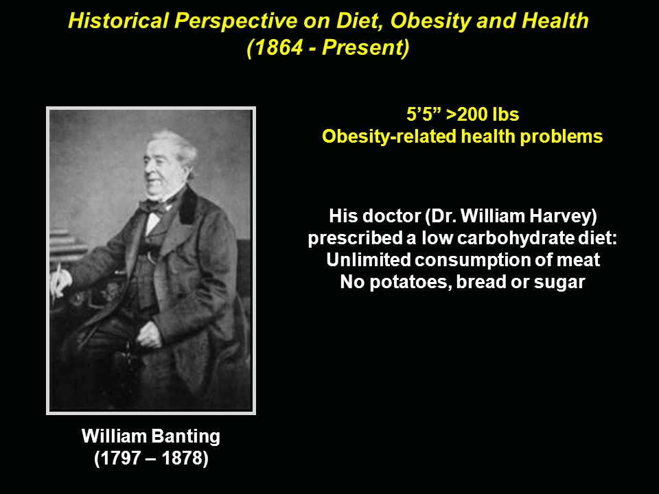 Historical Perspective on Diet, Obesity and Health (1864 - Present) 55 >200 lbs Obesity-related health problems William Banting (1797 – 1878)