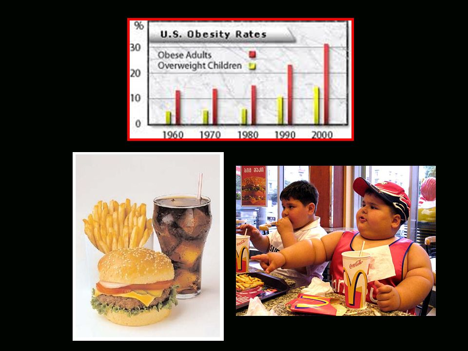 Carbohydrates Fats Protein 1970 1980 1990 2000 Excess Consumption of Carbs