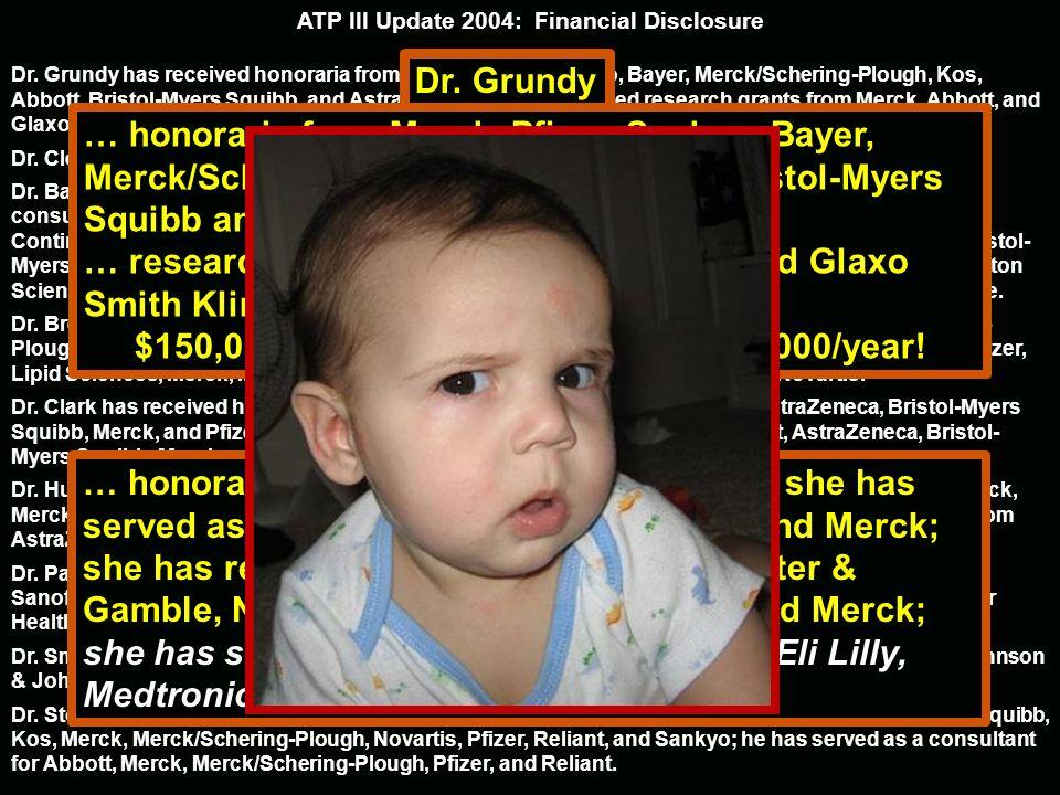 ATP III Update 2004: Financial Disclosure Dr. Grundy has received honoraria from Merck, Pfizer, Sankyo, Bayer, Merck/Schering-Plough, Kos, Abbott, Bri