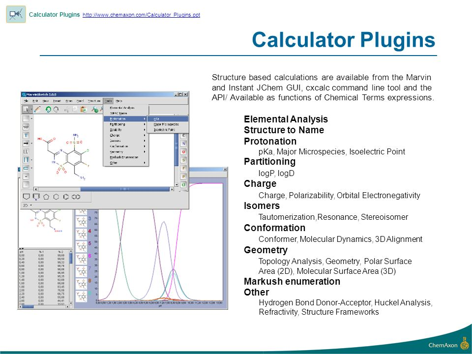 Calculator Plugins Calculator Plugins     Elemental Analysis Structure to Name Protonation pKa, Major Microspecies, Isoelectric Point Partitioning logP, logD Charge Charge, Polarizability, Orbital Electronegativity Isomers Tautomerization,Resonance, Stereoisomer Conformation Conformer, Molecular Dynamics, 3D Alignment Geometry Topology Analysis, Geometry, Polar Surface Area (2D), Molecular Surface Area (3D) Markush enumeration Other Hydrogen Bond Donor-Acceptor, Huckel Analysis, Refractivity, Structure Frameworks Structure based calculations are available from the Marvin and Instant JChem GUI, cxcalc command line tool and the API/ Available as functions of Chemical Terms expressions.