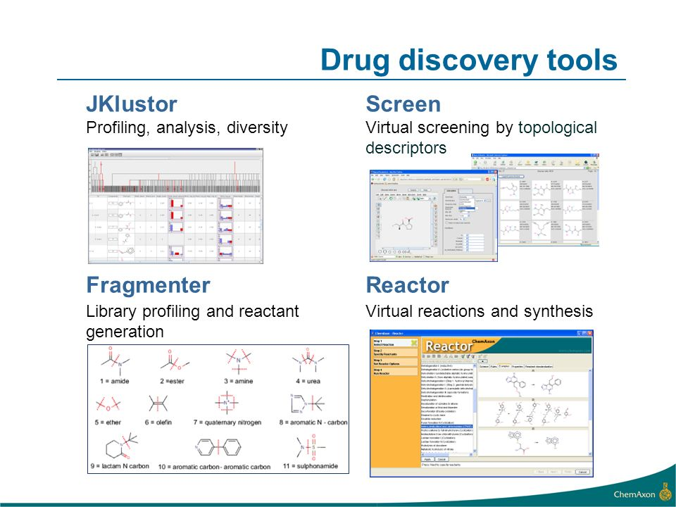 Drug discovery tools JKlustorScreen Profiling, analysis, diversityVirtual screening by topological descriptors FragmenterReactor Library profiling and reactant generation Virtual reactions and synthesis